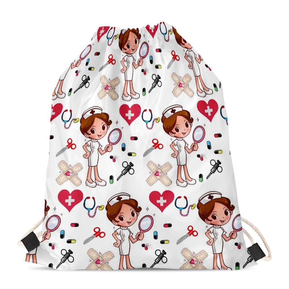 FORUDESIGNS Casual Women's Backpack Drawstring Bag Cartoon Nurse Print Travel Softback Storage Fashion Sack Beach Mochila 2019