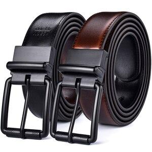 Image 1 - الرجال الجلود حزام يُستخدم على الوجهين عادية جان الأسطوانة مشبك 34 مللي متر واحد عكس ل 2 ألوان