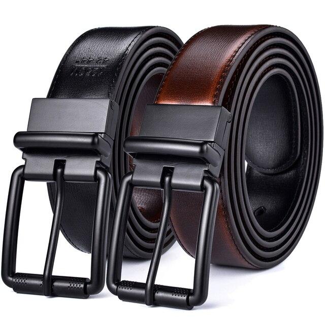 الرجال الجلود حزام يُستخدم على الوجهين عادية جان الأسطوانة مشبك 34 مللي متر واحد عكس ل 2 ألوان