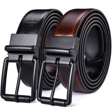 Couro masculino reversível cinto casual jean roller buckle 34mm um reverso para 2 cores