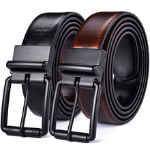 Mens Leather Reversible Belt Casual Jean Roller Buckle 34MM One Reverse for 2 Colors