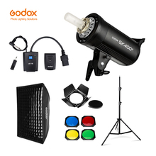 Godox sk400ii 400ws gn65 profissional, estúdio flash estroboscópico + 2.8m suporte de luz + 60x90cm softbox + gatilho + barril kit da porta