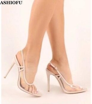 ASHIOFU New Style Handmade Women's High Heel Pumps PVC Leather Slingback Party Prom Shoes See-through Evening Fashion Shoes