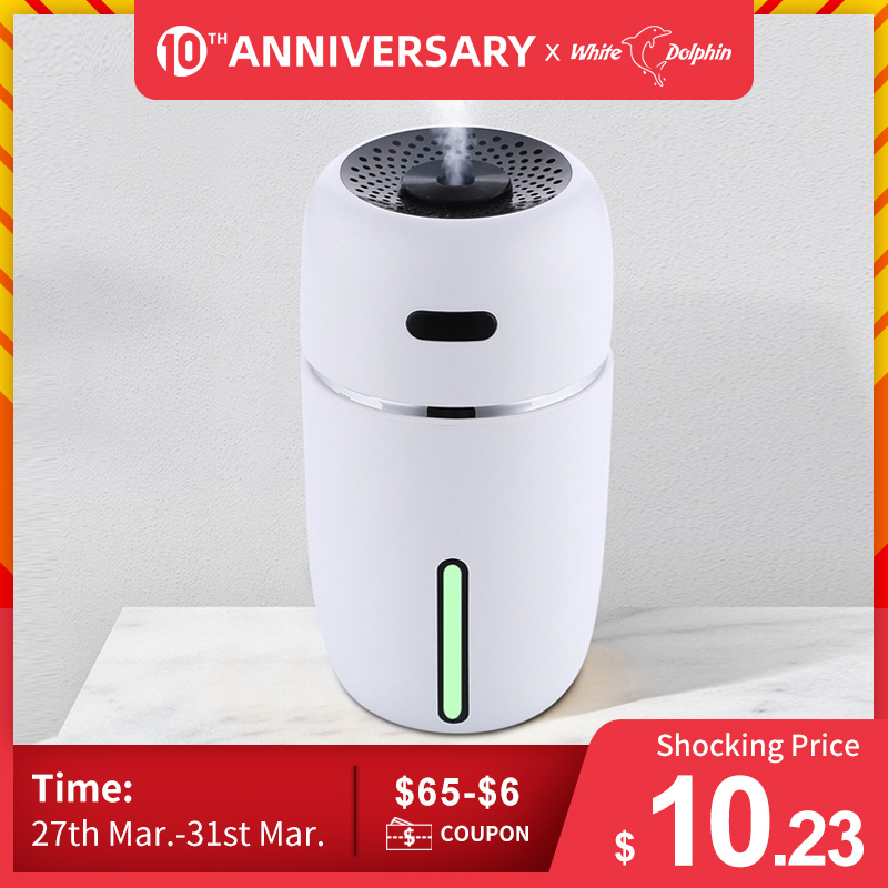 White Dolphin Mini USB Air Humidifier Aroma Diffuser With Changing LED Air Vaporizer Car Essential Oil Aromatherapy Diffuser