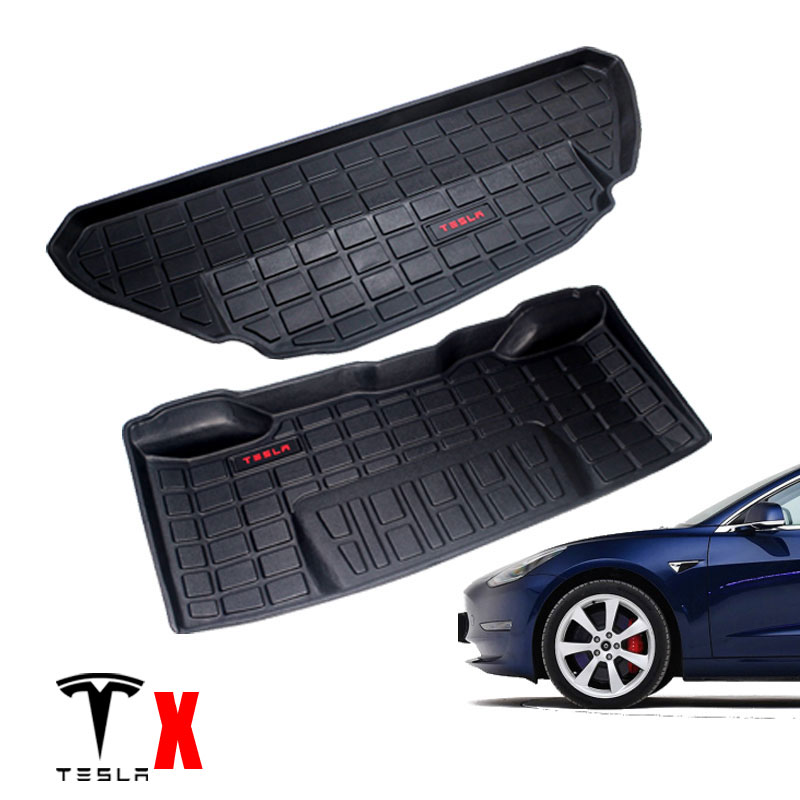 TPO TPE Rear And Front Cargo Carpet Waterproof Rubber Car Trunk Mat For Tesla  MODEL X 7 Or 6 Seats CAR Accessories 2014-2019
