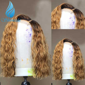 SMD 13x6 Ombre Honey Blonde Lace Front Wigs with Baby Hair Deep Curly Brazilian Remy Human Hair Wigs with Pre Plucked Hairline - DISCOUNT ITEM  40% OFF All Category