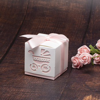 10pcs/bag Cute Candy Box Baby Carriage Blue&Pink Paper Gift Boxes Decoration For Kids Birthday Party DIY Baby Shower Supplies 5Z