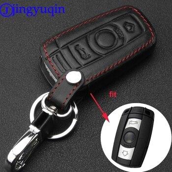 Funda de cuero para llave de coche jingyuqin 3B para BMW 3 5 6 Series M3 M5 X1 X5 X6 Z4 mando a distancia inteligente con llavero KeyChai
