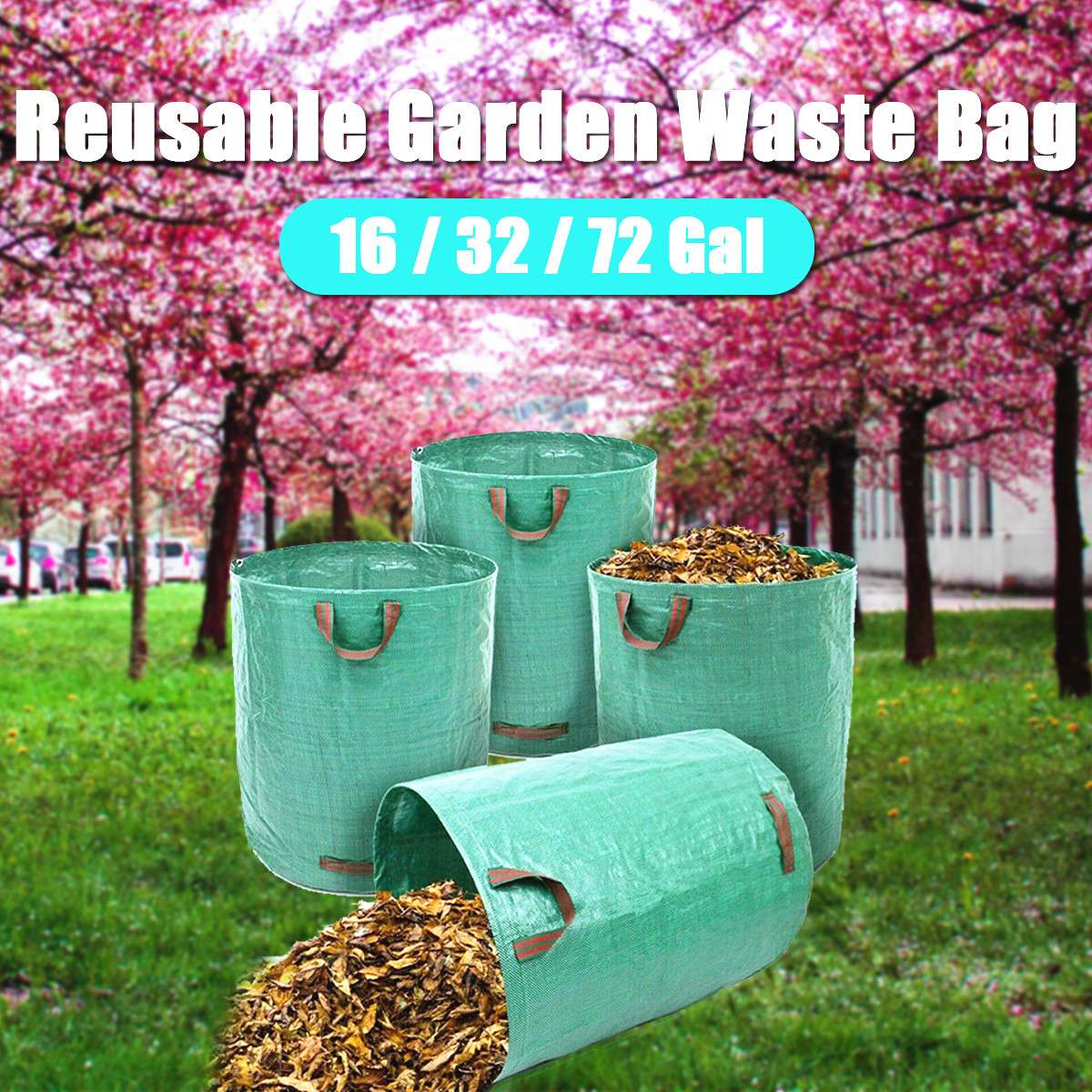 60L/120L/272L Large Capacity Heavy Duty Garden Waste Bag Durable Reusable Waterproof PP Yard Leaf Weeds Grass Container Storage