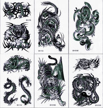Black Tiger Dragon Temporary Tattoos Body Art Arm Leg Tattoo Paper for Men Women Fake Animal Monster Sticker Shoulder Back Tatto(China)