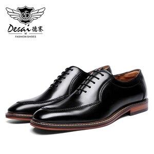 Image 1 - Мужские классические туфли оксфорды Desai, черные вечерние туфли из натуральной кожи в итальянском стиле, в Корейском стиле, 2020