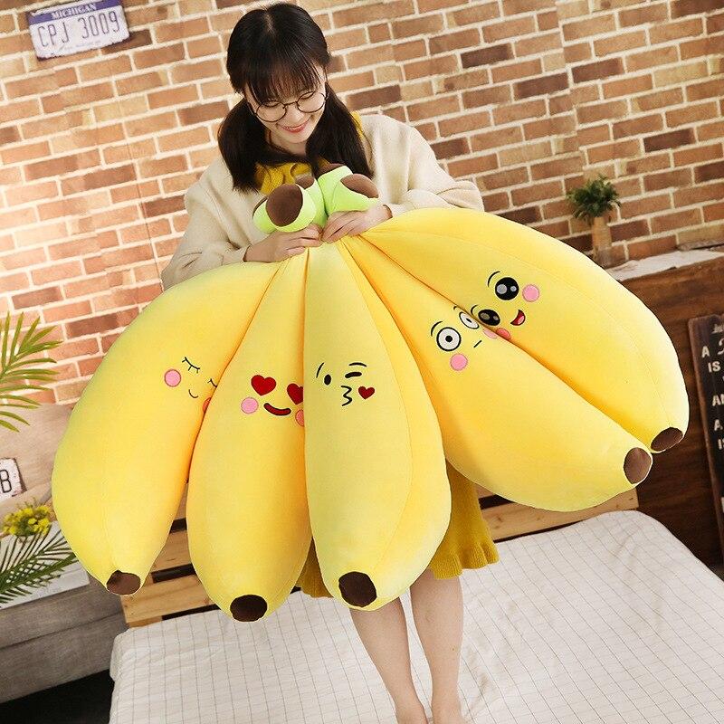 Nuevo 1 Pza 80/100CM lindos juguetes de frutas de felpa amarillo Banana felpa plantas de juguete Banana almohadas para la cama del hogar bebé niños regalos de cumpleaños 30ml lubricante Banana crema comestible grasa Personal lubricante anal vaginal oral lubricante para sexo aceite de masajes para pene Gel de amor para la pareja