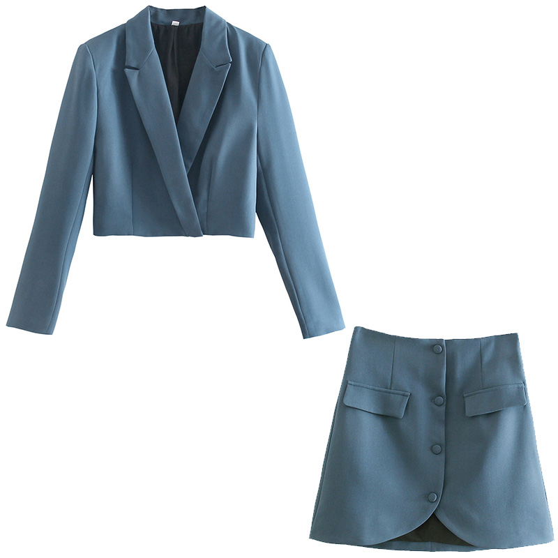 2021 New Women Two Pieces Set Cropped Blazers and Mini Skirt Suit Fashion Casual Chic Lady Women Outfits Blazers & Skirt suit