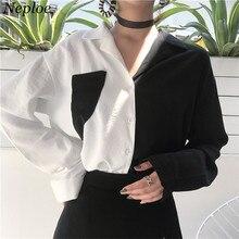 Neploe цветная Лоскутная Женская рубашка с карманами, отложной воротник, однобортный Топ для офисных леди, осенняя Новая модная блузка 68863