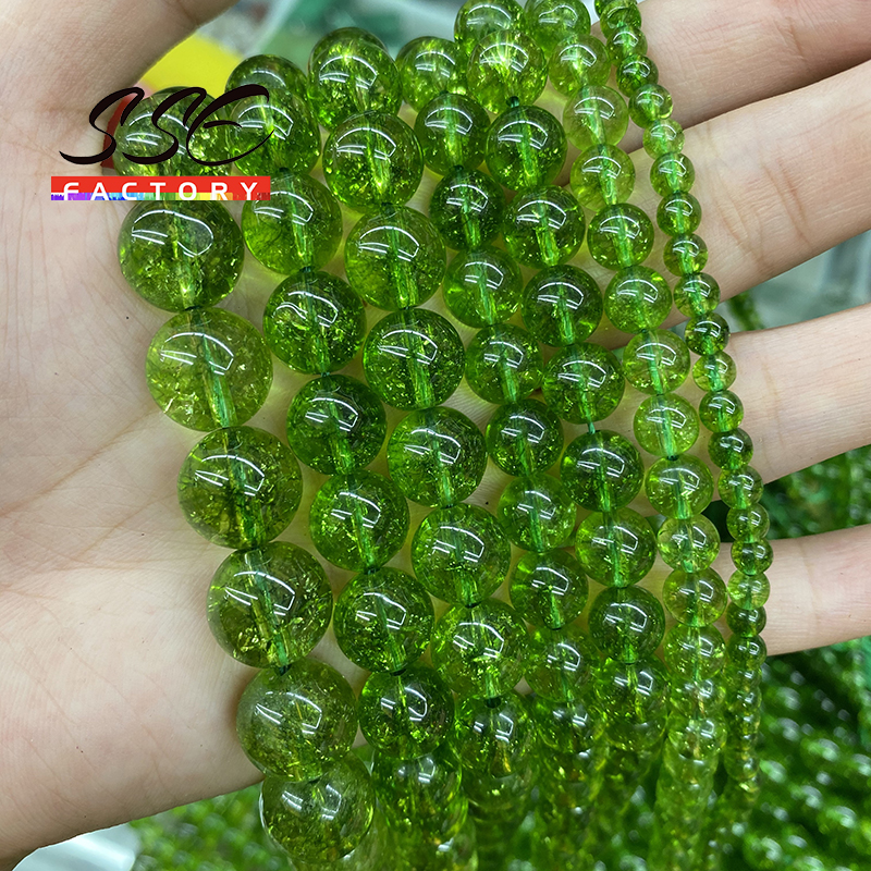 Natural verde peridot cristal contas de quartzo redondo solto 15