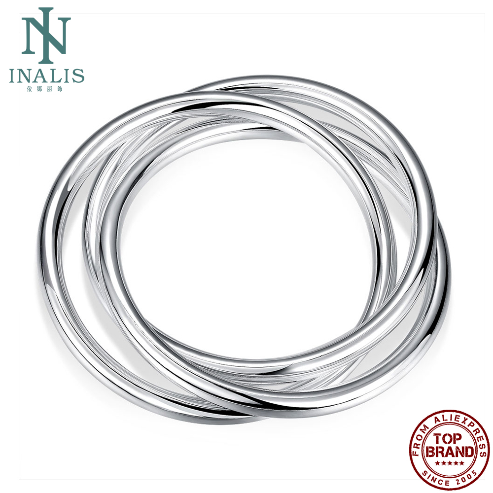 INALIS Vintage Three Circles Twisted Rope Bangles Men Simple Round White Open Boy Bangle Anniversary Fashion Jewelry Hot Sale
