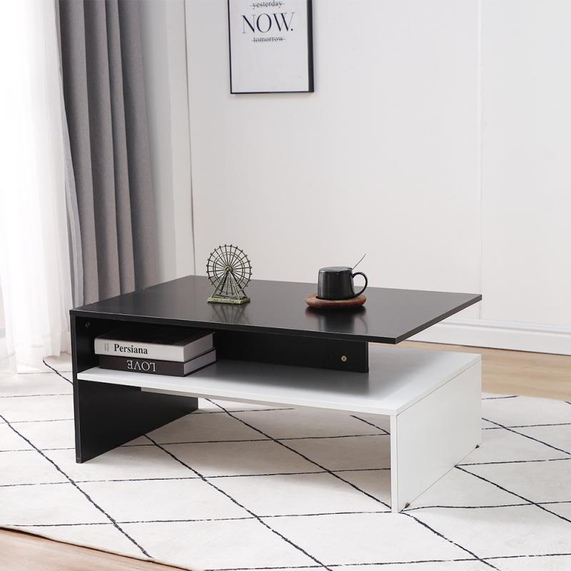Tea Table Elegant Modern Style Livingroom Coffee Table With Side Storage Rack Middle Glass Shelf Table Home Nordic Furniture HWC