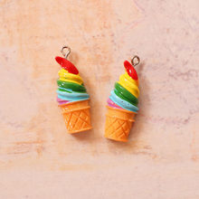 5PCS Resin Rainbow Ice Cream Charms Jewelry Necklace Pendant Keychain Charms For Earring DIY Bracelet Jewelry Accessory(China)