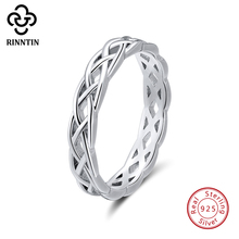 Rinntin Twisted Design 925 Silver Women Wedding Ring Engagement Promise Ring Men Classic Anniversary Fine Jewelry TSR62