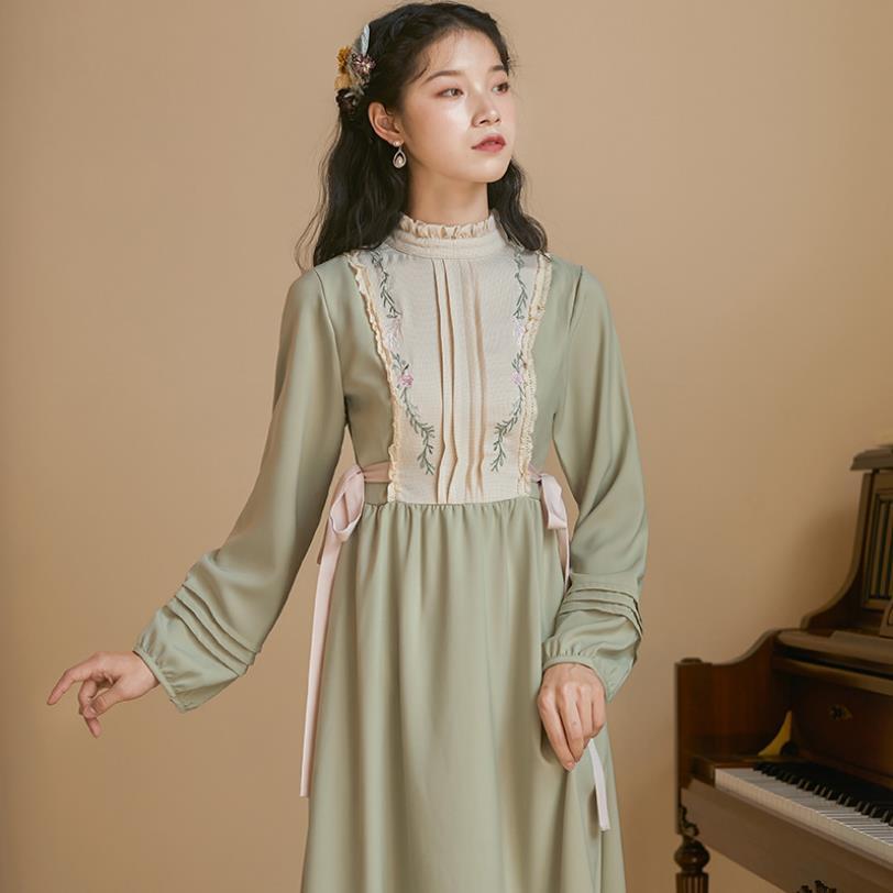 Französisch retro stickerei kleid urlaub langarm kleid weibliche temperament war dünn hohe taille plaid grün kleid F1218