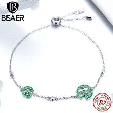 BISAER 100% 925 Sterling Silver Jumping Frog Lotus Leaf Silicone Chain Bracelet for Women Luxury Brand Fashion Jewelry GAB006 bohemian black moon bracelet lotus lotus leaf round stone flower bead chain combination 6 piece set for women