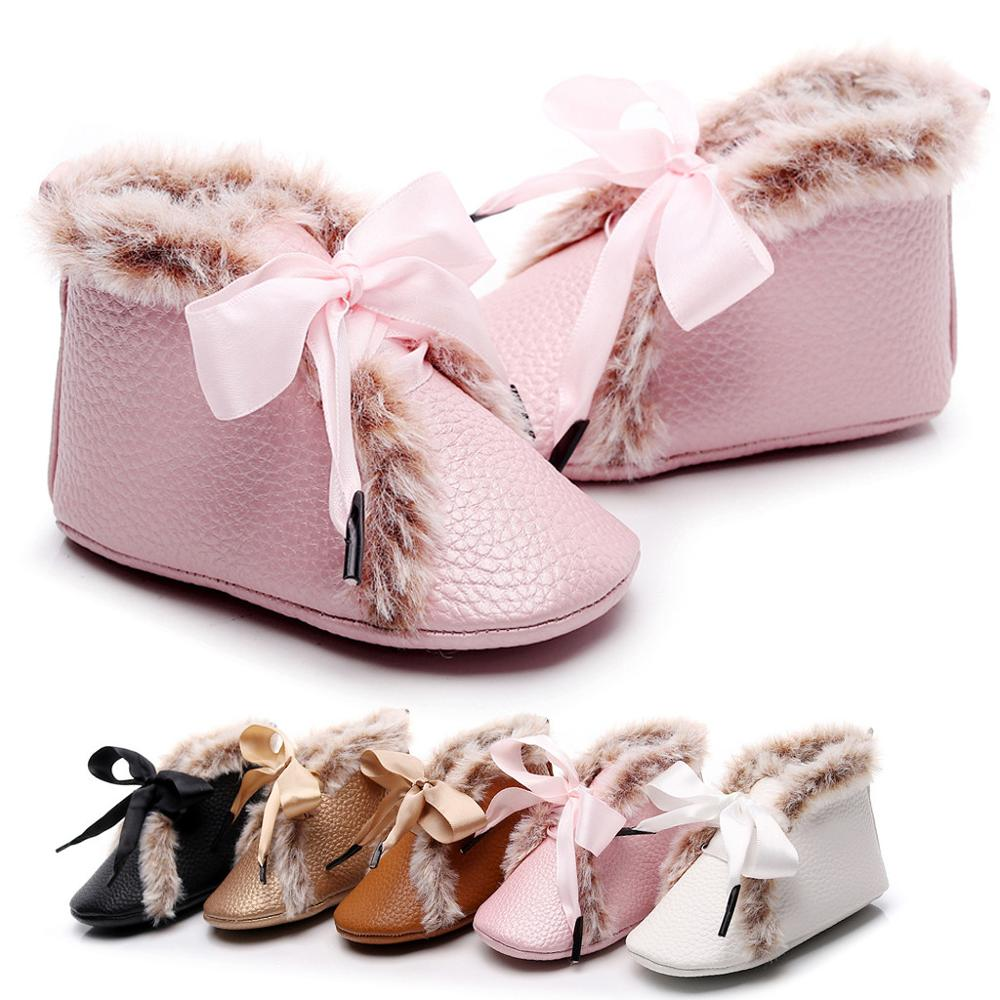 2019 New Baby Boots Infant Newborn Girls Boys Warm Shoes First Walkers Velvet Solid Shoes Booties Sapato Infantil Kids Shoes