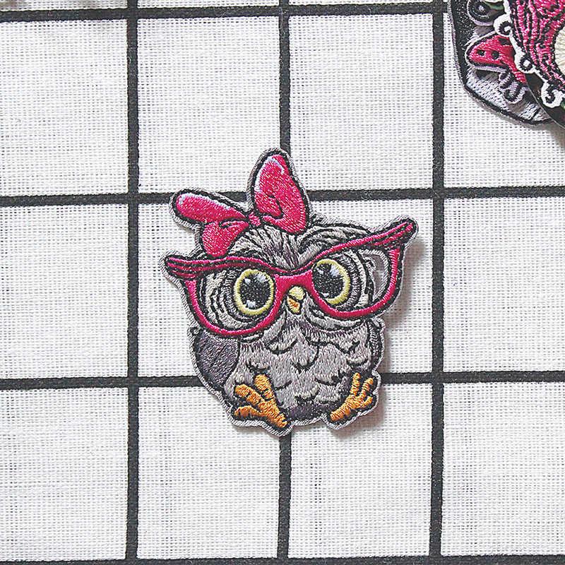 O pássaro bonito dos desenhos animados bordou o ferro da coruja em remendos para a roupa adesivos tecido diy decorativo aplique remendo bordado