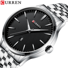 CURREN Relojes Hombre 2019 Casual Wrist Watches Chic Black Dial Silver Stainless Steel Fashion Mens Waterproof Quartz Wristwatch