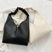 Fashion Women PU Leather Solid Color Shoulder Tote Bag Casual Ladies Pleated Handle Large Capacity Handbags