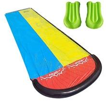 Inflatable Lawn Water Slide Double Lane Water Splash Slide Backyard Toy Water Slide Outdoor Garden Swimming Pool Slide Games