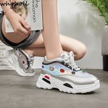 Womens Leisure Shoes, White Flat Shoes And Sewing Wedge-shaped Shoelaces, Sports 2019