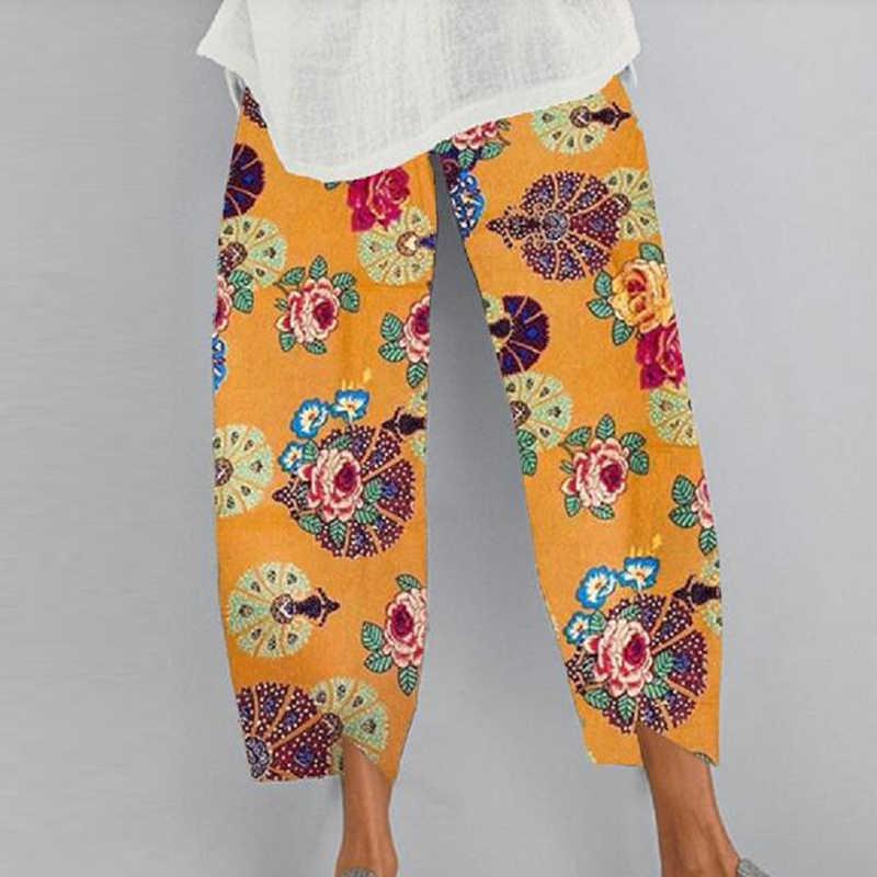 2020 frauen Baumwolle Leinen Vintage Hosen Sommer Elastische Taille Unregelmäßige Hosen Pantalon Casual Löwenzahn Print Gestellte Hosen 5XL