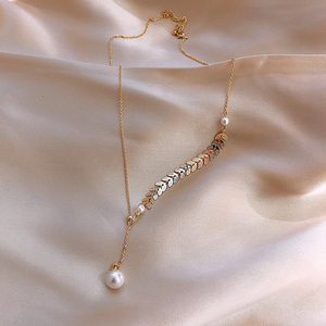 Korea Hot Sale Fashion Jewelry Sexy Metal Wheat Ear Short Necklace Adjustable Elegant Pearl Prom Party Necklace for women
