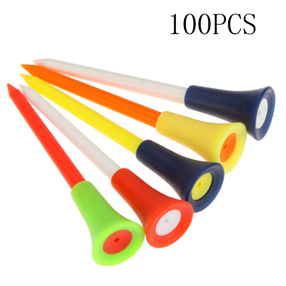 100 Pcs/Pack Plastic Golf Tees Multi Color 8.3CM Durable Rubber Cushion Top Golf Tee Golf Accessories 1