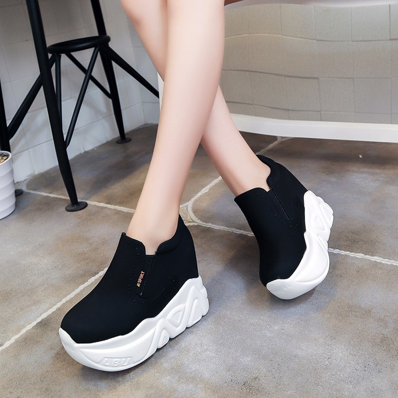 Women Shoes Platform Sneakers Canvas Shoes Vulcanized Super High Hidden Heels Shoes Elevator Lady Sneakers women sneakers