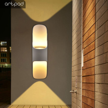 Artpad Led Outdoor Wall Lamps Scrub Metal White Black Golden Waterproof Lamp Up and Down Lighting for Home Garden