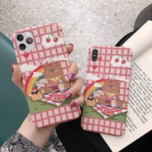 Cartoon rainbow bear Hard phone Cases For iPhone 11 Pro X 7 6 6S 8Plus Matte Back Cover For iphone 11Pro XS MAX XR Cover Cases