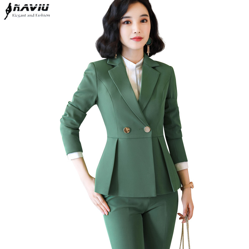 Naviu new arrival high quality women two pieces set pants suit for office lady formal workwear winter clothing 51