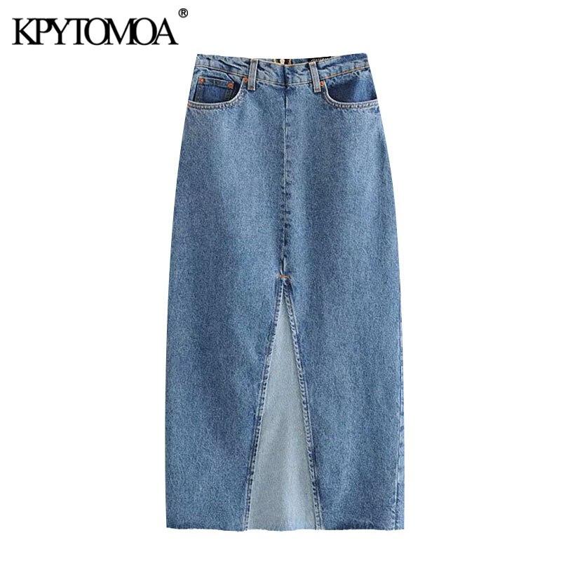 KPYTOMOA Women 2020 Chic Fashion Patchwork Denim Midi Skirt Vintage High Waist Back Zipper Vents Female Skirts Faldas Mujer