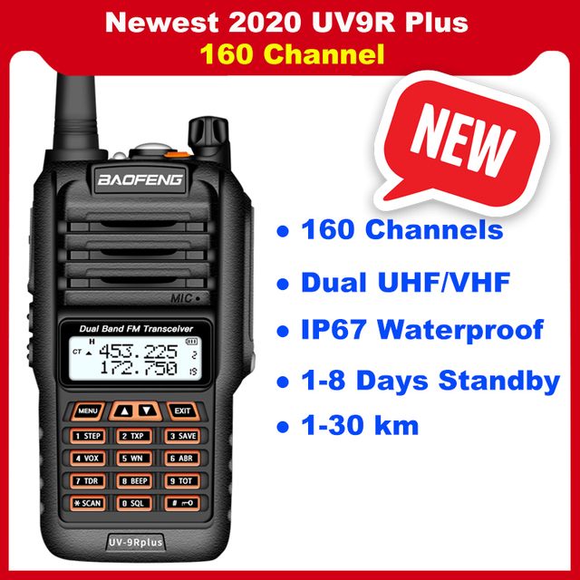2020 Newest Baofeng UV 9R Plus Walkie talkie two way radio vhf uhf 30 50km long range Ham CB radio station UV9R Plus 160 Channel