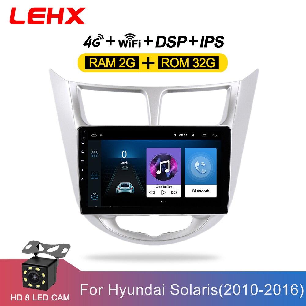LEHX Car Radio Multimedia Video Player Navigation GPS Car Android For Hyundai Solaris Accent Verna 2011 2012 2013 2014 -2016(China)