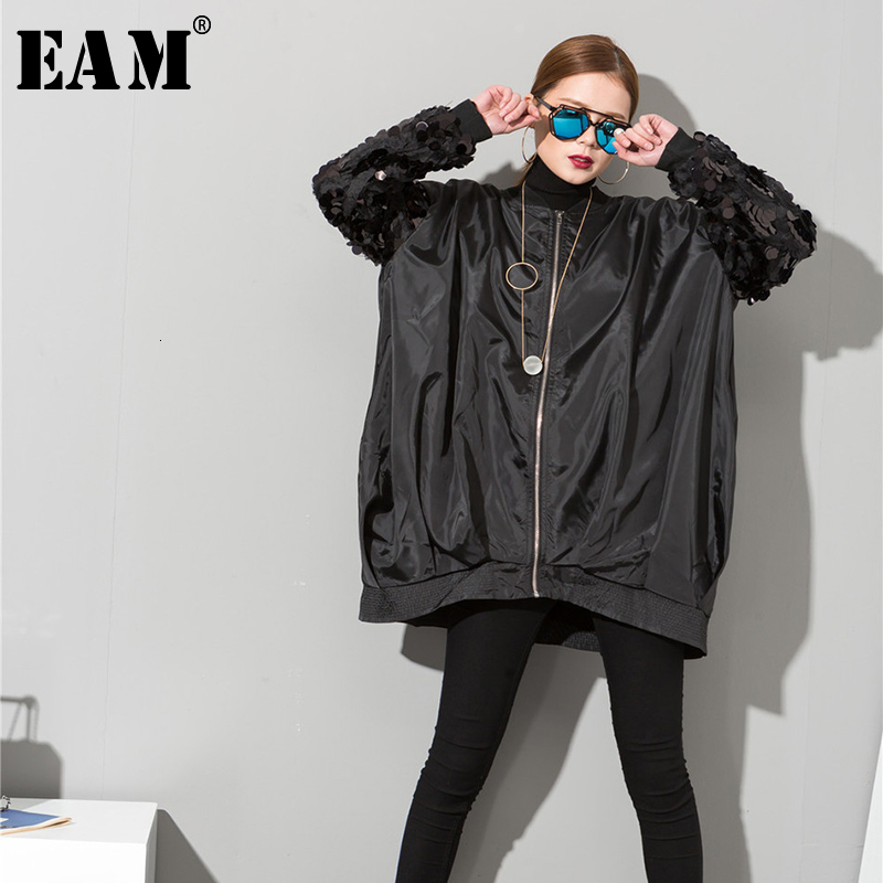 [EAM] Loose Fit  Sequin Split Big Size Jacket New Stand Collar Long Sleeve Women Coat Fashion Tide Spring Autumn 2020 AS1730