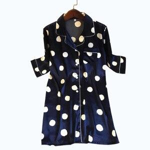 Image 2 - Женская ночная рубашка с принтом, шелковая ночная рубашка с коротким рукавом, атласная ночная рубашка, весна лето 2020