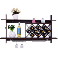 Wall Mounted Wine Rack Organizer With Metal Glass Holder & Multifunctional Storage Shelf Modern Diamond Shaped Wood Wine Server