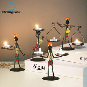 Strongwell Candlestick Miniature Home-Decor Metal Handmade Art Figurines Birthday-Gift