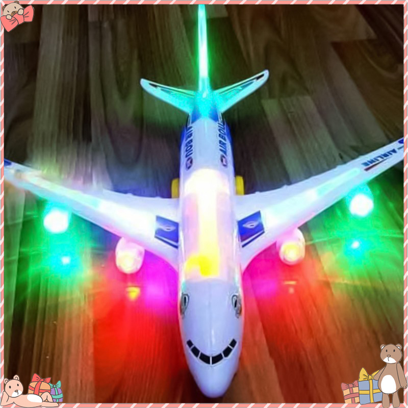 A380 Kids Toys Airplane Flashing Led Light&Music Airbus Flying Glider Planes Aeroplane Model Fillers Flying Glider Plane Toys image