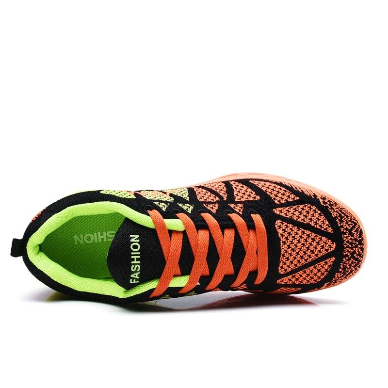 Homem mulher respirável malha de ar malha coxim formadores tênis esportes tênis viagem ao ar livre andando jogging calçados luz - 3