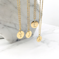 Stainless Steel 12mm Disc Initial Letter Alphabet Chain Necklace Creatively 26 Initial Name Couple Necklaces Lover Gift New 4