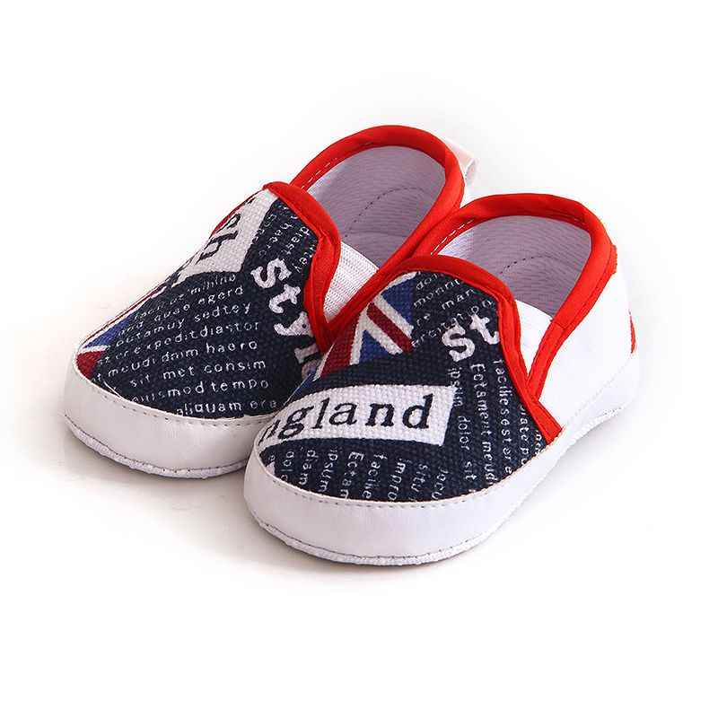 1 Pair Kids Baby Soft Bottom Walking Shoes Boy Girl Striped Anti-Slip Sneakers A pedal Leisure Baby Soft Flag Printed