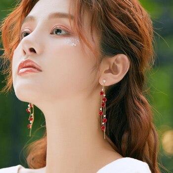 Fashion Rose Petal Drop Earrings for Women Bijoux Blue White long tassel Dangle Earrings Weddings Party Jewelry Accessories Gift 3